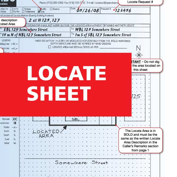 How to read a dig locate sheet